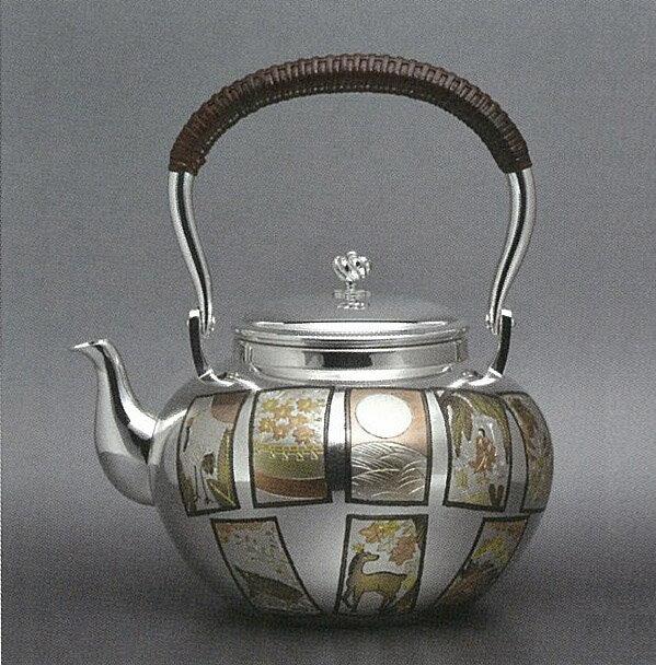 【日本製・証明書付き】純銀 湯沸 5.0寸 花札 OK型 obg-n136
