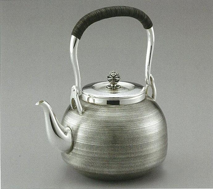【日本製・証明書付き】純銀 湯沸 R型 細目まだら 5寸 obg-n030