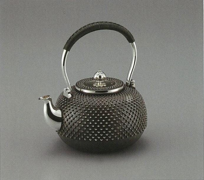 【日本製・証明書付き】純銀 湯沸 霰 4.5寸 光立作 obg-n041
