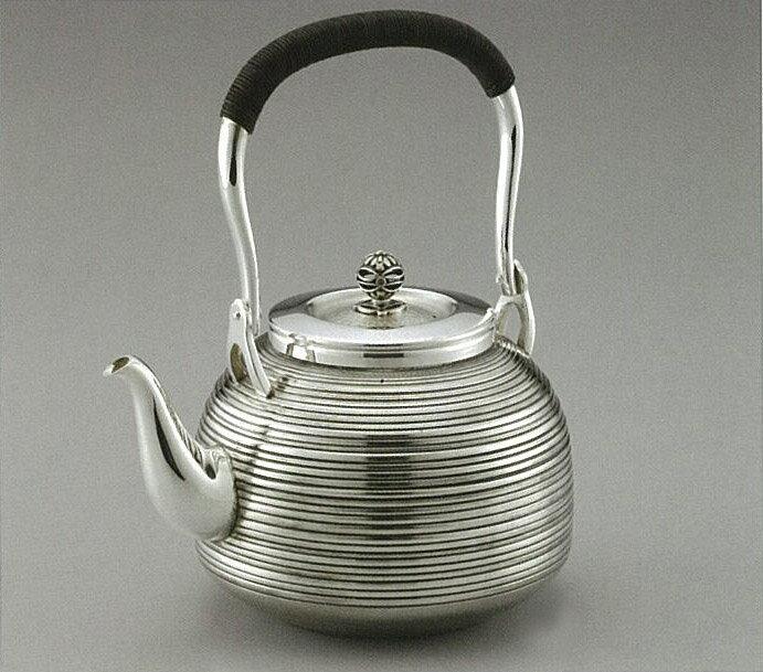 【日本製・証明書付き】純銀 湯沸 R型 太目まだら 5寸 obg-n045