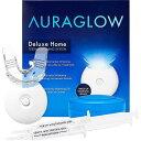 家庭用 ホワイトニングキット ワイヤレスマウスピース LEDライト 歯を白く AuraGlow Teeth Whitening Kit, LED Light, 35 Carbamide Peroxide, (2) 5ml Gel Syringes, Tray and Case