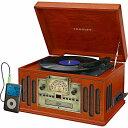 クロスリー ラジオ レコードプレーヤー CDプレーヤー カセットデッキ Aux Bluetooth Crosley CR704D-PA Musician 3-Speed Turntable with Radio, CD/Cassette Player, Aux-In and Bluetooth
