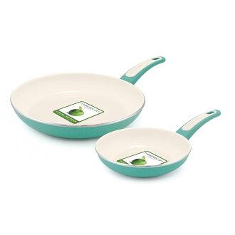 綠色針直徑 25 釐米/18 釐米煎鍋設置陶瓷聚四氟乙烯加工 GreenPan 焦點 7 英寸和 10 英寸鋁制不粘鍋陶瓷煎鍋設置