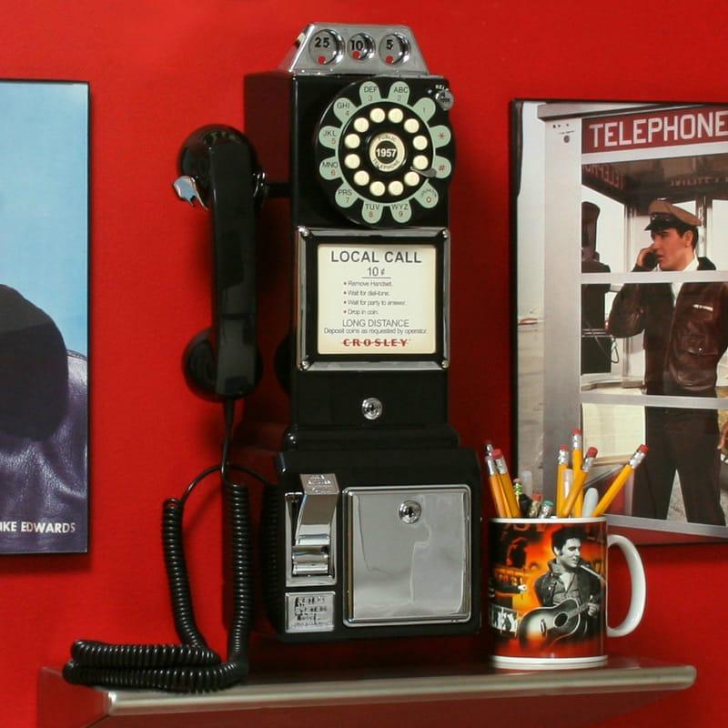 アメリカ クロスリー1950年代 レトロ 壁掛け電話 ブラックCrosley CR56-BK 1950s Wall Pay Phone Black公衆電話