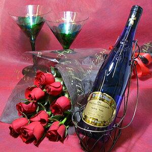 【送料無料】ドイツワイン 白 ピーロート・ブルー「アウスレーゼ」 バラ花束セット【あす楽対応】【あす楽_土曜営業】【お誕生日 プレゼント 結婚記念日・お祝い 翌日 送料込 お好きな