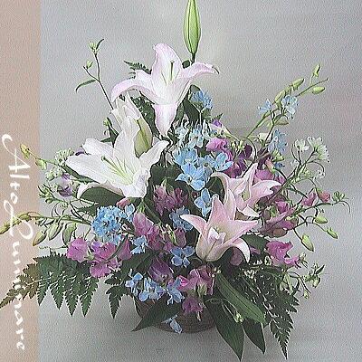 ブルー系用アレンジメント(バスケット・アレンジ)お花仏花生花フラワーアレンジメントアレンジメントフラ