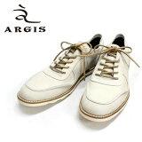 ◆d◆ ARGIS アルジス 11133 スニーカー 本革 革靴 メンズ 白底 レザー 白 革ひも