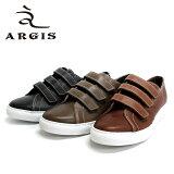 ◆d◆ ARGIS アルジス 18131 ベルクロ スニーカー 本革 革靴 メンズ レザーシューズ  赤・黒・茶・グレー