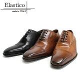 ○【はきじわがある場合がございます】 Elastico エラスティコ 642 CRUST ストレートチップ 内羽根 本革 革靴 革底 メンズ ドレス ビジネス   黒色 マッケイ【イタリア製】