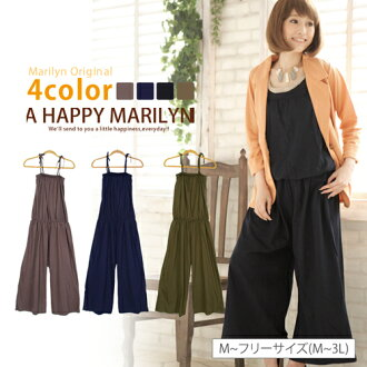 I cover a stomach by the size Lady's all-in-one ■ plain fabric キャミサロペットバギーロング length underwear browsing that M ... has a big! ■Marilyn original underwear PANTS-free M L LL 3L 11 13 15 K4[[No.832]]
