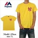 ショッピング衣装 マジェスティック 半袖 Tシャツ メンズ レディース ニューヨーク ヤンキース MAJESTIC NY 大きいサイズ イエロー 黄 B系 ストリート系 ヒップホップ ダンス 衣装 ブランド ファッション AMAZING アメージング