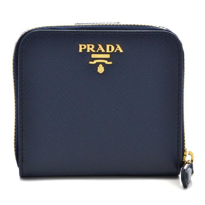 プラダ PRADA 財布 1ML522 2017年秋冬新作 財布 サフィアーノ レディース 二つ折り財布 ネイビー 1ML522 QWA 216