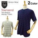 ブリクストン タウンセンド 2ボタン ヘンリー Tシャツ ラスト:ネイビー/レッド Mサイズ (Brixton TOWNSEND TWO-B...