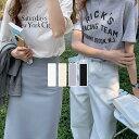 ショッピングTシャツ 【全品対象★半額クーポン発行中】ロゴ Tシャツ カットソー トップス レディース 半袖 5分袖 英語 大人 ゆったり プリントT シンプル コットン混 仕事 オフィス 通勤 おしゃれ 可愛い 2021春夏新作 【lgww-at3243】【予約販売:15-20日】【送料無料】メ込