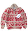 ショッピングカウチン KANATAカナタカウチン 雪柄 ivory/red ジッパーモデルニット、セーター