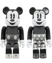 BE@RBRICK MICKEY MOUSE & MINNIE MOUSE 100% (B&W Ver.) 2 PACK メディコム トイ 《発売済 在庫品》