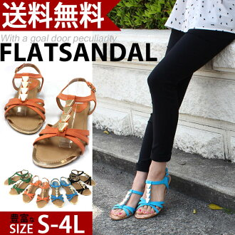 2013 New ★ ゴールドアクセ cool, 1.0 cm flat with flat sandals with / summer / Sandals / black / ladies / pettanko boobs pettanko / fun