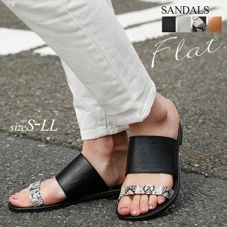 寬闊平坦的涼鞋 pettanko 女裝鞋簡單容易磨損流星雨極大舒適厚帶白色白色黑色 Python 駱駝避暑