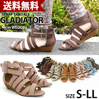 No painful beauty legs ウエッジソールグラディエーター Sandals / black / heel / wedge sole / strap / ladies / / Sandals Gladiator