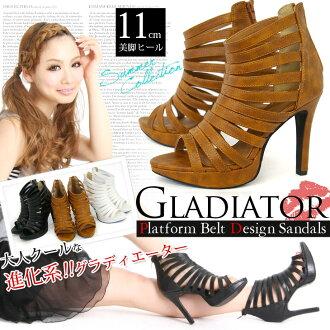 / Women's / Gladiator / heel ストラップグラディエーター Sandals multi leg beauty