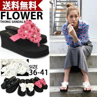 Rich with フラワーコサージュ トングウエッジソール Sandals size ~ 25.5 cm! / ビーチサンダル / wedge sole / Sandals / Women's / black / flower / tongs / resort