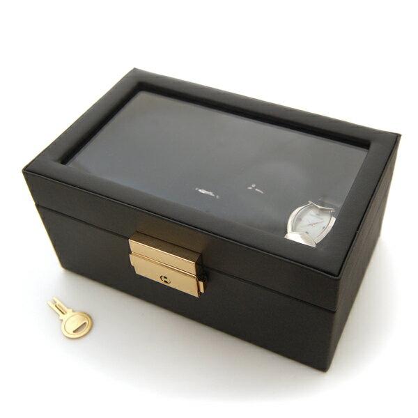 【メール便不可】時計&ジュエリー収納ケースブラック[BOX33,BK]