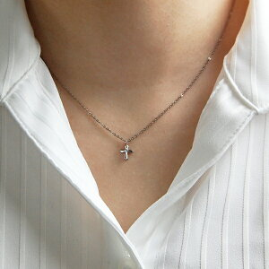 チタンネックレスミニクロスモチーフ天然ダイヤモンド[N0038-WDA&C0050-AD2-40]