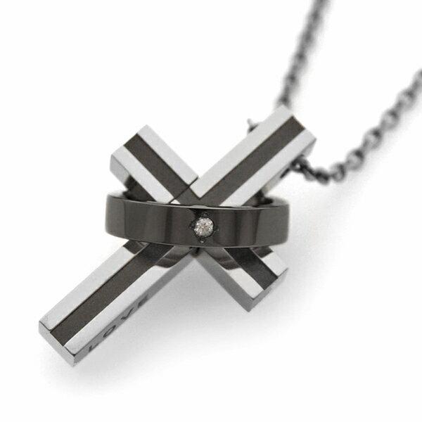 チタンネックレス&天然ダイヤ[Cross×Rin...の商品画像