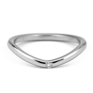 V字ラインチタンリング天然ダイヤモンド1石[R0283-WDA]