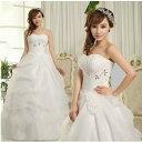 ウェディングドレス、結婚式、二次会ドレス、花嫁ドレス、パーティードレス★送料無料※ドレスのカラーはホワイトです。  ブライズメイド