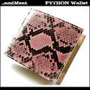 【送料無料】【...andMeat.】アンドミート蛇革/ダイヤモンドパイソン/本革ショートウォレット/2つ折り財布パイソン/ピンク