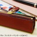 Real leather Rio fastener pen case mini [pencil case leather popularity pen porch stationery Shin pull fashion entrance to school finding employment new member of society celebration birthday gift] [easy ギフ _ packing]