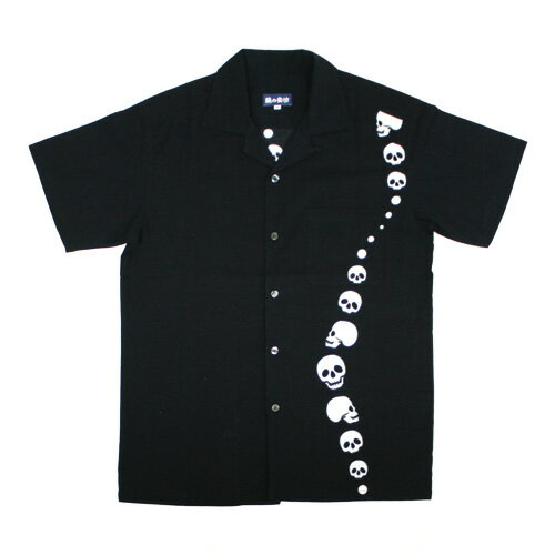 手ぬぐいアロハシャツ「ドクロゆらり」S・M・L・LLサイズクールビズ/エコ/父の日/おとうさん