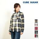 【WINTER SALE】【50%OFF】CUBE SUGAR 先染めビエラチェック レギュラーシャツ(4色)【キューブシュガー】【レディース】