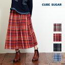 CUBE SUGAR 先染めネルチェックタックギャザースカート(4色)【キューブシュガー】【レディース】【送料無料】【PL】