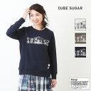 CUBE SUGAR 30/12裏毛 スヌーピー クルーネック(3色)【レディース】【4U】【キューブシュガー】