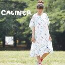 CALINER(カリネ)コットンスラブインコ柄プリントワンピ...
