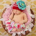 AW13【Huggalugs】赤と白のストライプ・大きなお花のニット帽(Festive Ziggy ...