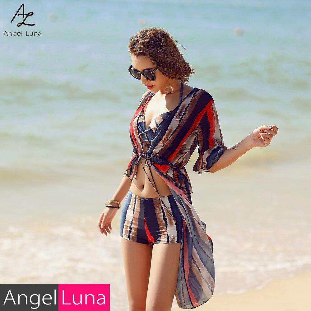 Angel Luna|水着 レディース ビキニ アウター付き 上下3点セット ワイヤー入り パット付き フ...