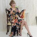 花魁 ドレス 花魁風帯付き総和柄サテン裾フリルロン