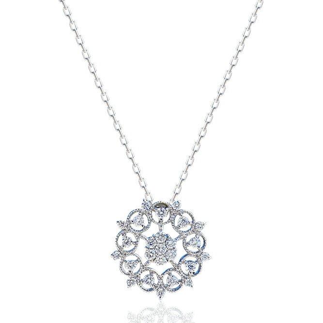 【22日まで!店内全品ポイント3倍♪】[Pt900/Pt850][K18]ダイヤモンドネックレス(0.20ct)雪の結晶