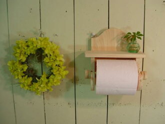 The wooden toilet paper holder ◇ shelf of the no painting unvarnished wood ◇ hinoki is with it