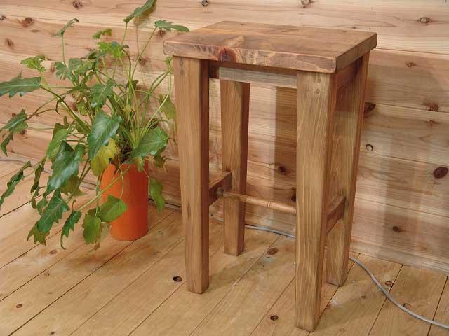 アンティークブラウン 木製角型スツール(高さ60cm) 椅子 受注製作