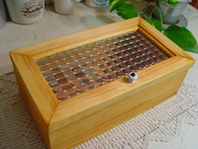 ナチュラル フランス製チェッカーガラスの木製小物入れ(大 28×16×10cm) ジュエリーケース アクセサリーボックス 受注製作