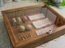 【ご注文製作】アンティークブラウン◇透明ガラスアクセサリーケース(31×25×7cm)ジュエリーケース コレクションケース