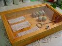 中身が見えるちょっと大きめアクセサリーケース【ご注文製作】透明ガラスの木製小物入れ◇ジュエリーケース(横長)大*アクセサリーボックス*ソーイングボックスにも
