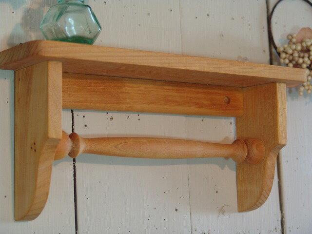 ナチュラル 木製タオルハンガーミニミニシェルフ...の紹介画像2