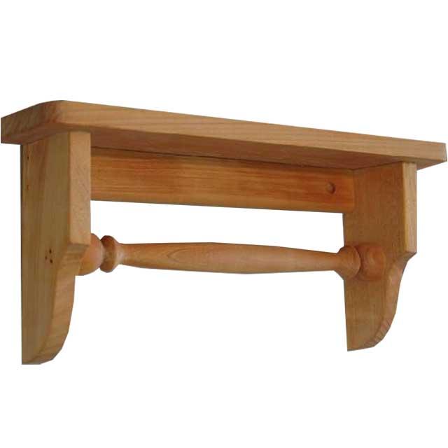 ナチュラル 木製タオルハンガーミニミニシェルフ 半折タイプ 受注製作