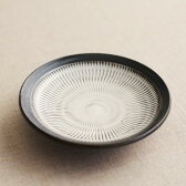 小鹿田焼き(おんたやき) 黒縁 4寸皿