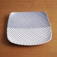 重ね縞(かさねじま) 反角中皿